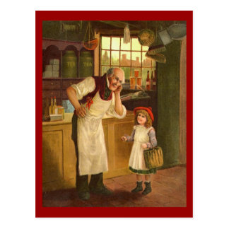 Comerciante do vintage com cartão da menina cartão postal