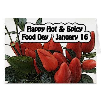 Comida dia cartão o 16 de janeiro quente & picante