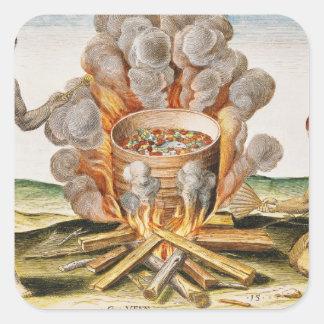 Comida do cozinhar em um pote do Terracotta Adesivo Quadrado