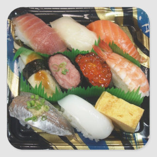 Comida do japonês da caixa do sushi adesivo quadrado