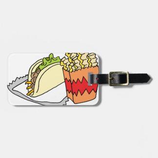 Comida encaracolado do taco da rua das fritadas tag de bagagem