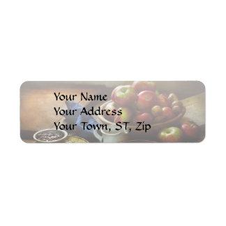 Comida - fruta - apronte para o pequeno almoço etiqueta endereço de retorno