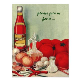 Comida italiana do vintage, partido do cozinhar da convites personalizado