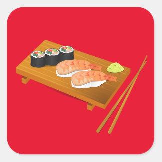 Comida japonesa bonito do sushi adesivo quadrado