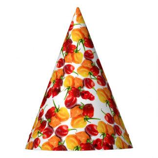 Comida quente alaranjada das pimentas vermelhas chapéu de festa