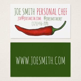 Comida vermelha do cozinheiro do restaurante do cartão de visitas
