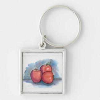 Como fazem você gostam d as maçãs? chaveiro quadrado na cor prata