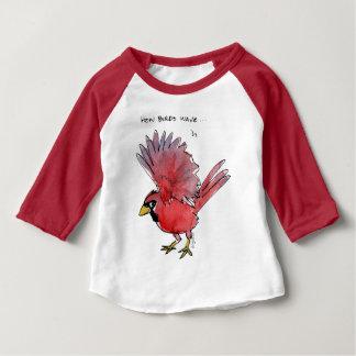Como os pássaros acenam o cardeal camiseta para bebê