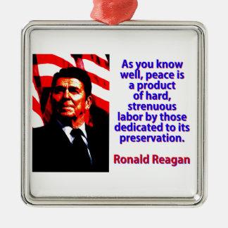 Como você sabe bem - Ronald Reagan Ornamento De Metal