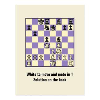 Companheiro da xadrez em 1 cartão do quebra-cabeça