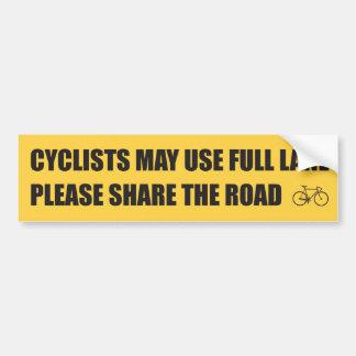 Compartilhe da estrada - os ciclistas podem usar a adesivo para carro