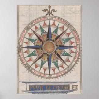 Compasso náutico histórico (1543) pôster