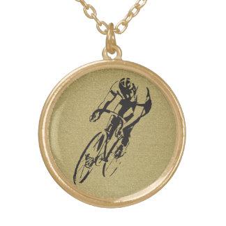 Competência da bicicleta colar banhado a ouro