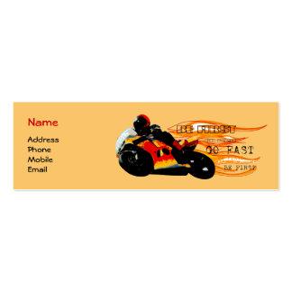 Competência da motocicleta cartão de visita skinny