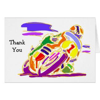Competindo o obrigado da motocicleta você cartões