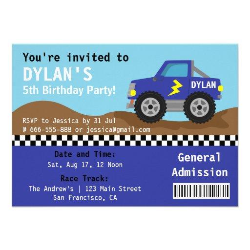 Competindo o partido azul do monster truck, bilhet convite personalizados