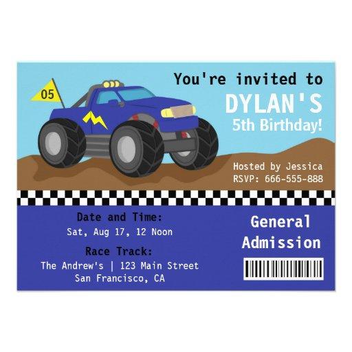 Competindo o partido do monster truck, bilhete azu convites personalizado