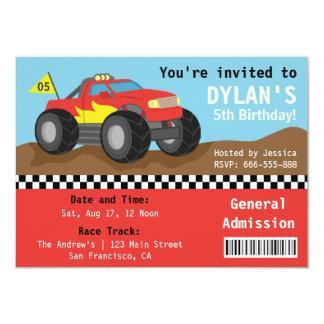 Competindo o partido do monster truck, bilhete da convite 11.30 x 15.87cm