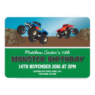 Competir caminhões do doce do monstro personalizou convite 12.7 x 17.78cm