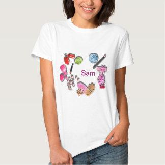 Compo a menina para personalizar cosméticos t-shirt