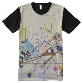 Composição 8 por Wassily Kandinsky; Arte abstracta Camisetas Com Impressão Frontal Completa