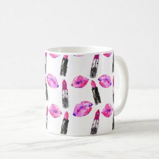 Composição cor-de-rosa do teste padrão do batom caneca de café