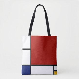 Composição II de Mondrian em vermelho, em azul, e Bolsas Tote