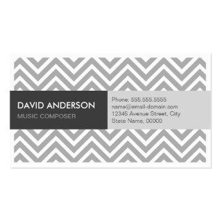 Compositor da música - Chevron cinzento moderno Cartão De Visita