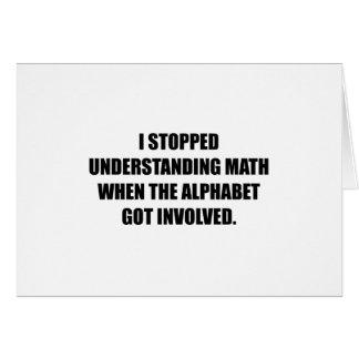 Compreenda o alfabeto da matemática cartão