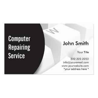Computador moderno do teclado que repara o cartão  cartoes de visitas