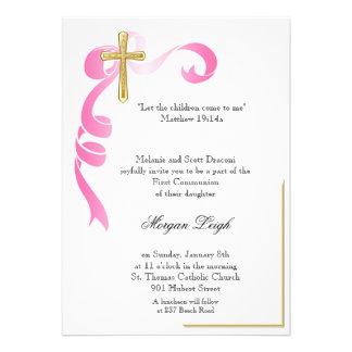 Comunhão cor-de-rosa da cruz da fita convites personalizados