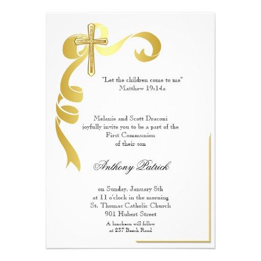 Comunhão da cruz da fita do ouro convite