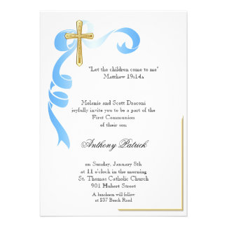 Comunhão da cruz do ouro da fita azul convite personalizados