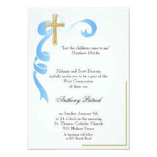 Comunhão da cruz do ouro da fita azul convite 12.7 x 17.78cm