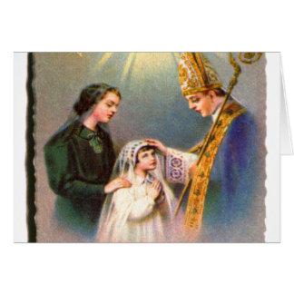 Comunhão do cartão santamente católico do kitsch