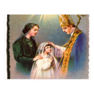 Comunhão do cartão santamente católico do kitsch cartão postal