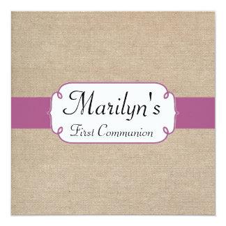 Comunhão do fúcsia roxo e de serapilheira bege convite quadrado 13.35 x 13.35cm