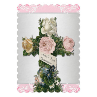 Comunhão do rosa do vintage primeiro convite 12.7 x 17.78cm
