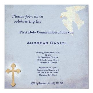 Comunhão santamente convite quadrado 13.35 x 13.35cm
