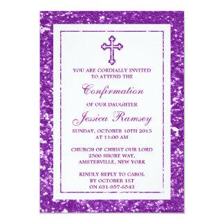 Comunhão santamente da cruz roxa do convite 12.7 x 17.78cm
