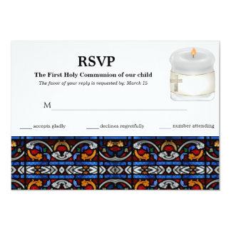 Comunhão santamente do vitral do cartão da convites personalizado