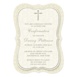 Comunhão santamente ou confirmação transversal convite 12.7 x 17.78cm