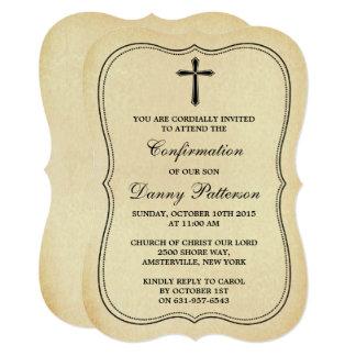 Comunhão santamente ou confirmação transversal do convite 12.7 x 17.78cm