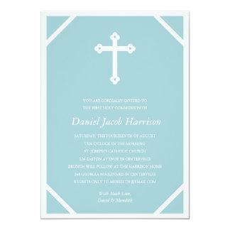Comunhão simples dos meninos azuis da cruz | convite personalizado