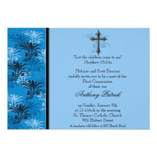 Comunhão transversal floral azul do menino convites personalizado