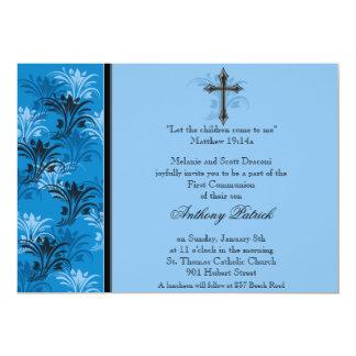 Comunhão transversal floral azul do menino convite 12.7 x 17.78cm