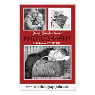 Comunicado do negócio do fotógrafo com três fotos modelos de panfleto