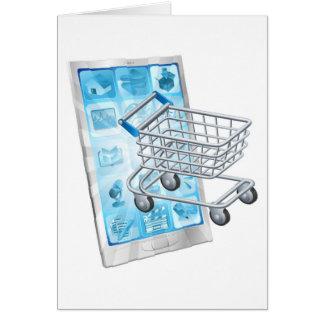 Conceito comprando móvel do app cartão