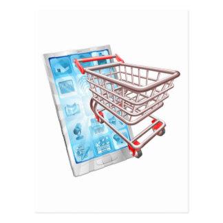 Conceito do app do telefone da compra cartões postais