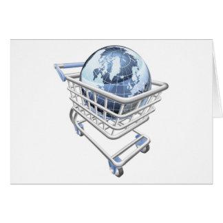 Conceito do carrinho de compras do globo cartão